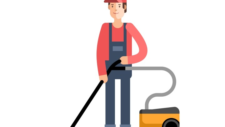 Cleaning company, service. Man vacuum cleaner cleaning. Vector illustration.